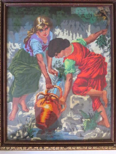 גובלן ממוסגר, ילדים ממלאים כד מים