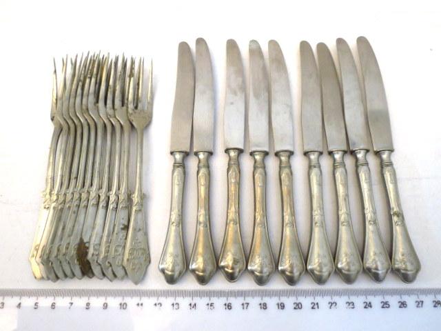 """סכו""""ם פירות חלקי הכולל: 11 מזלגות, 9 סכינים"""