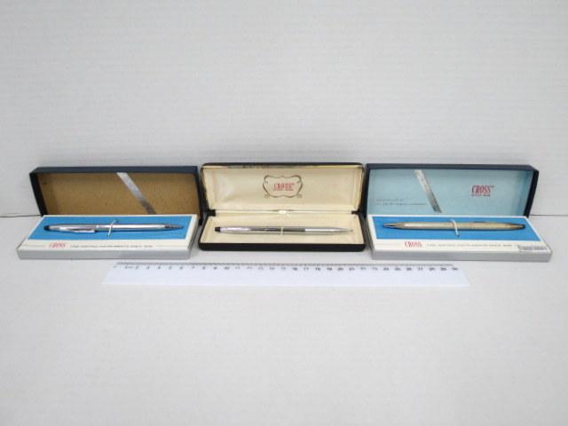 """שלושה עטים כדוריים תוצ Cross ארה""""ב לכ""""א גוף ניקל, , בקופסאות מקוריות, שנות ה60"""