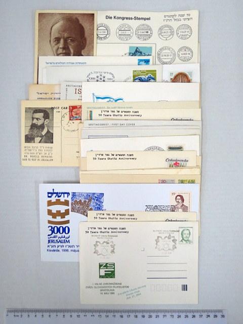 שלושים מעטפות פילטליות בנושאי ציונות, יהדות, שואה וכו'