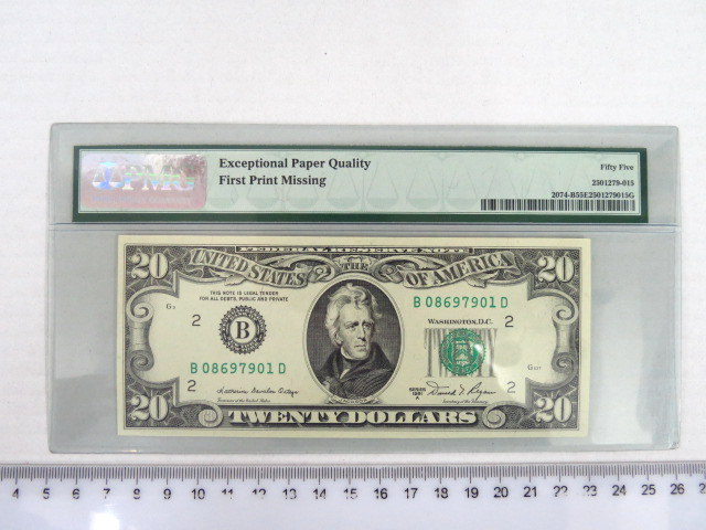 """20 דולר ארה""""ב 1980, דירוג PMG-EPQ-55 השטר מודפס רק מצד אחד, נדיר ביותר missing print error"""