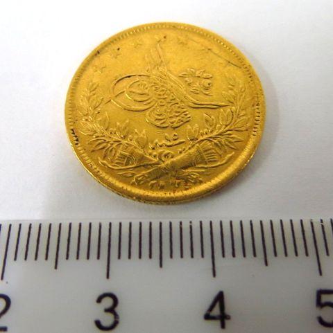 """מטבע זהב עותמאני ע""""ס 100 קורוש שנת 1255 (1839)"""