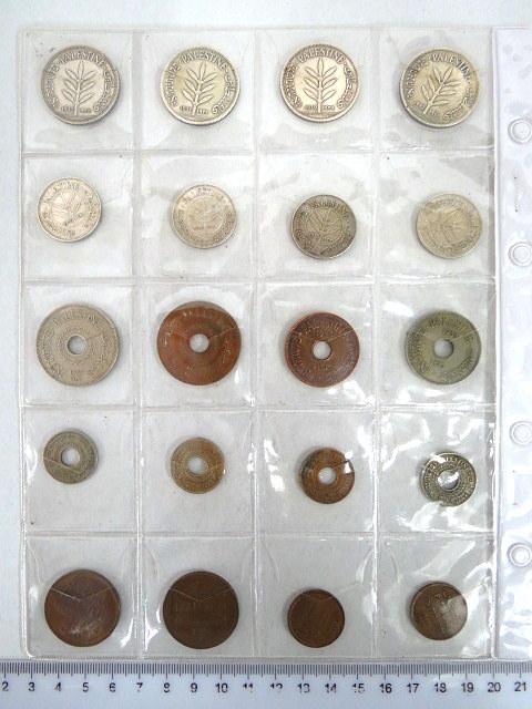 לוט של מטבעות מנדט שנים שונות, הכולל: 1 מיל (2), 2 מיל (2), 5 מיל (4), 10 מיל (2), 20 מיל (1935,1942), 50 מיל (1933,1935,1939,1940), 100 מיל (1931,1935,1939,1942)