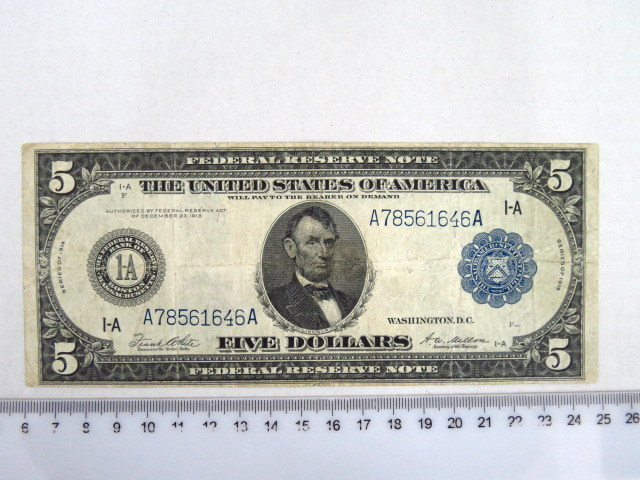 "Federal Reserve Note, Washington 1914 ע""ס 5 דולר, מצב Fine"