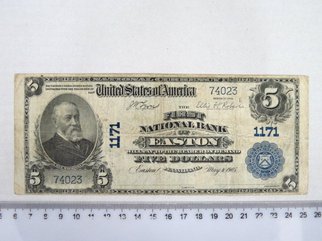 "The First National Bank of Easton שטר גדול, ע""ס 5 דולר May 4 1905 מצב fine"