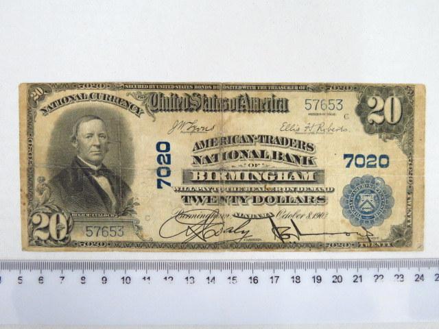 שטר גדול 1903-National currency Birmingham חתימות יד, מצב Fine