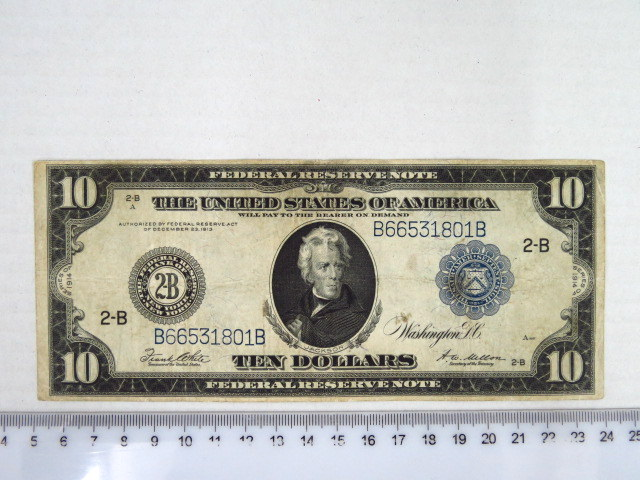 "Federal Reserve Note, Washington 1914 ע""ס 10 דולר, מצב Fine"