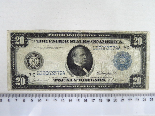 "Federal Reserve Note, Washington 1914 ע""ס 20 דולר, מצב Fine"