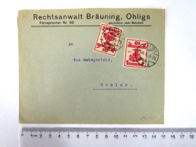 """מעטפה שנשלחה בדואר עם ביול: Deutsche Nationalversammlung, """"Goeslar 1919"""""""