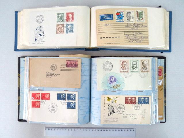 """שני אלבומי מעטפות עם בולי זוכי פרס נובל ס""""ה כ-180 מעטפות יום ראשון ומכתבים"""