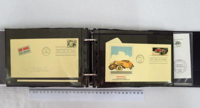 אלבום עם כ-113 מעטפות עם בולי רכבות, מכוניות , זהירות בדרכים