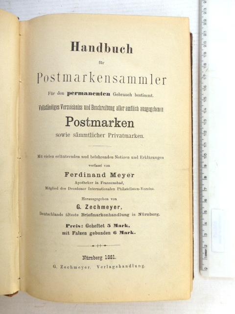 Handbuch fuer Postmarken sammler, Nuerenberg 1881, ספר לאספן הבולים , נירנברג, 1881