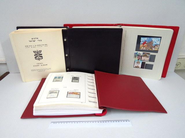 """אוסף של בולי ישראל, לא חתומים עם שובל, בשלושה אלבומים, שניים מקוריים, ערך קטלוגי ע""""פ בל 7200 $"""