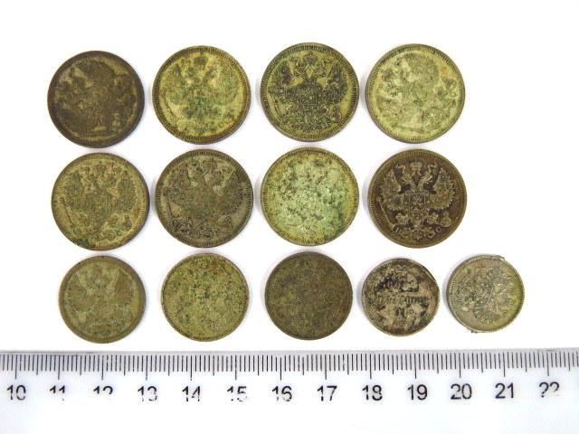 """שלוש עשרה מטבעות כסף רוסיה הצארית: ע""""ס 20 קופקות (8), ע""""ס 15 קופקות (3),"""