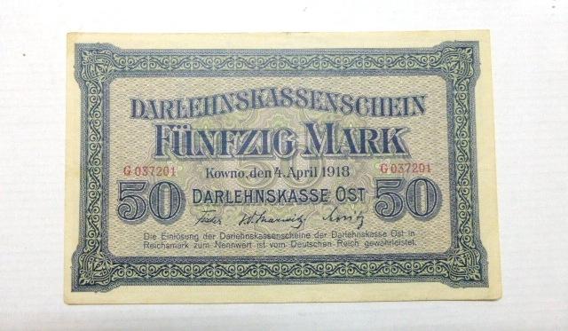 """שטר ע""""ס 50 מארק של שלטונות הכיבוש הגרמניים, קובנו, 4.4.1918 Darlehnskassenschein- Fuenfzig Mark Kowno der 4 April 1918, VF-XF"""