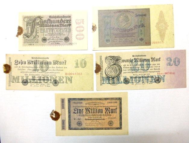 חמישה שטרות כסף אינפלציוני גרמניה 1923: 1 מליון מארק, 5 מליון מארק, 10 מליון מארק, 20 מליון מארק וחמש מאות מיליארד מארק, מצבים XF-UC