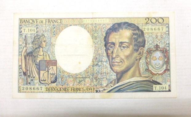 """שטר, Bank of France 1992 ע""""ס 200 פרנק מצב XF"""