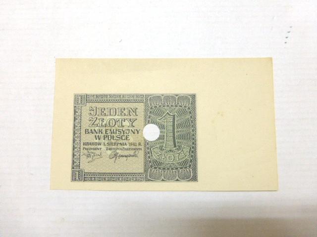 """שטר Specimen ע""""ס 1 זלוטי 1.9.41 , Jeden Zloty"""