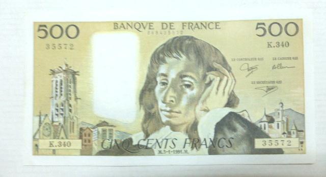 """שטר בנק של צרפת 1991, ע""""ס 500 פרנק, מצב UC"""