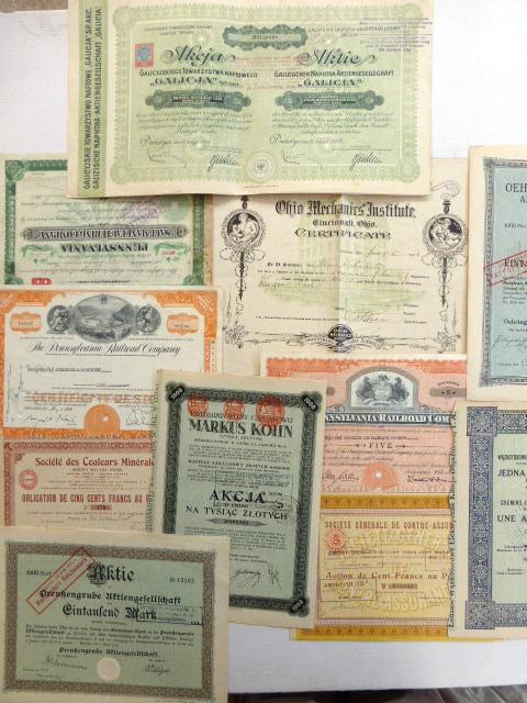 """לוט של 11 תעודות מניה מארצות שונות: צרפת: 1908, 1924, ארה""""ב:  1906,1921,1951,1959, פולין: 1924,1946, גרמניה: 1921,1922, גאליציה: 1924"""