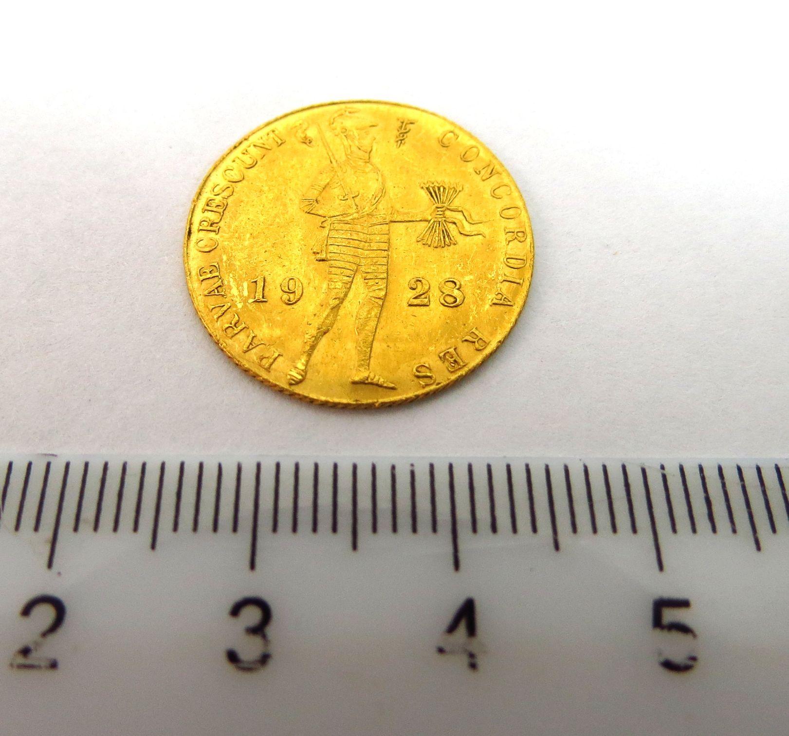 """מטבע זהב, הולנד, ע""""ס דוקאט 1928, מצב XF"""