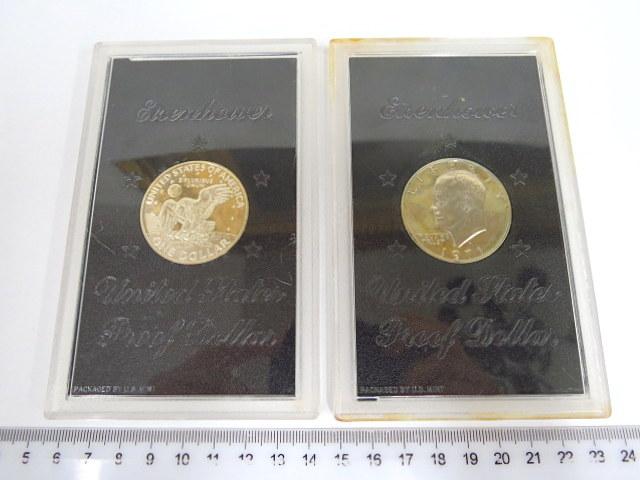 """שני מטבעות, ע""""ס דולר ארה""""ב אחד דיוקן איזנהאור, מצב UC"""