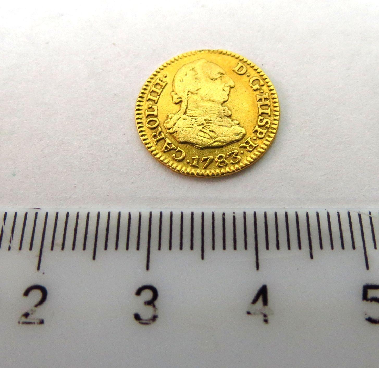 """מטבע זהב, ספרד, ע""""ס חצי Escudo המלך קארול ה-3, 1783, מצב  Fine"""