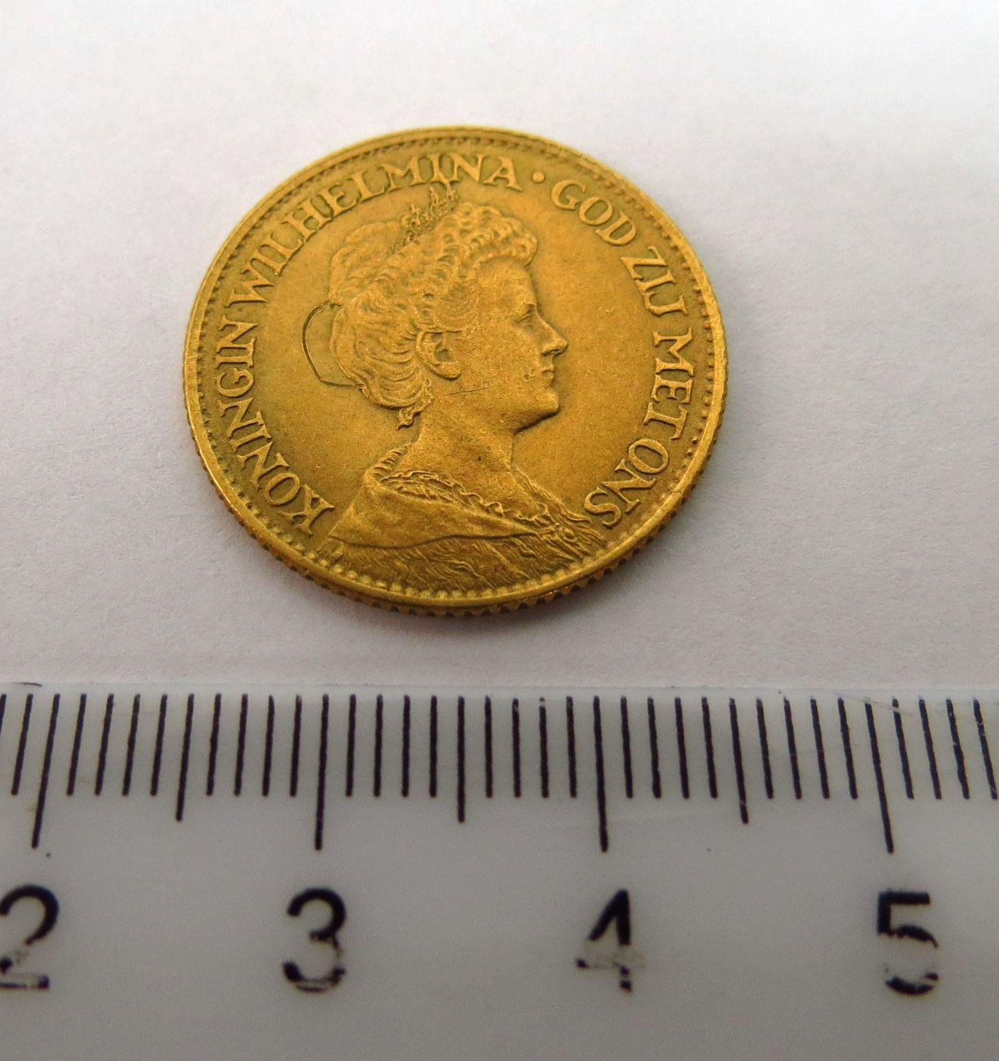"""מטבע זהב הולנד ע""""ס 10 גילדן 1912 המלכה  Wilhelmina, מצב  XF"""