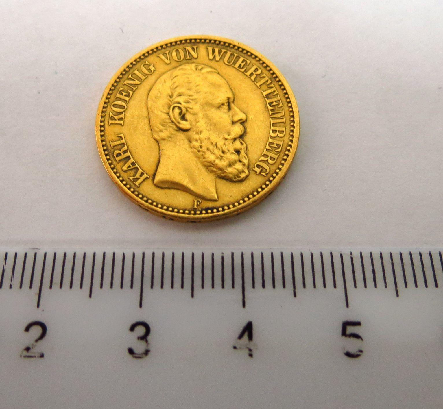 "מטבע זהב ע""ס 20 מארק, 1872 Deutsches Reich-Wuertenberg, Fine"