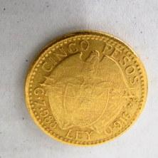 """מטבע זהב 21K, Colombia ע""""סGood  cinco pesos, 1919,"""