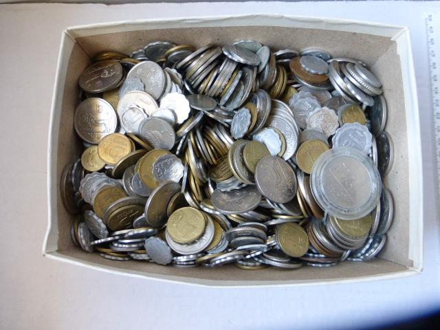 """קרטון עם כארבעה  ק""""ג מטבעות, ישראל"""