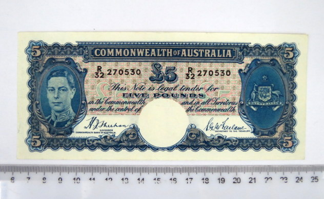 "שטר של Commonwealth of Australia שלטון ג'ורג' השישי, 1939-1951 ע""ס Five pound, מצב XF-AU"