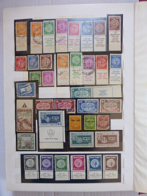 אלבום עם אוסף בולים, ישראל 1948-1969 עד 1952 חלקי, חתומים ולא חתומים, מ-1953 לא חתומים עם שובל