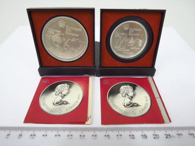 """שתי מטבעות כסף, קנדה, 1973 לכבוד האולימפיאדה, ע""""ס 5, 10 דולר"""