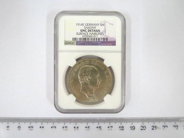 """מטבע כסף גרמני ע""""ס חמישה מארק, המלך פרידריך אוגוסט, סאקסוניה, 1914, דירוג מצב NGC-UNC surface hairlines"""