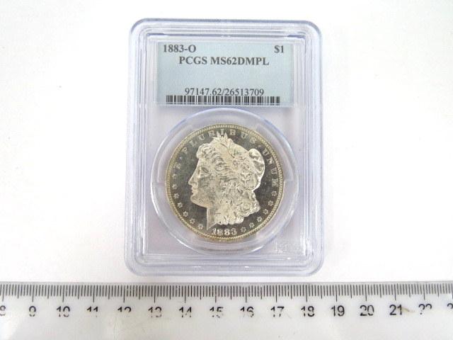 """מטבע דולר כסף, ארה""""ב 1883 Morgan Dollar דרוג PCG-MS62 DMPL"""