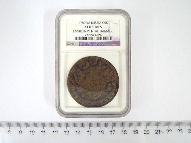 """מטבע נחושת ע""""ס חמש קופיקות, רוסיה הצארית 1789, דירוג PNG, מצב XF environmental damage"""