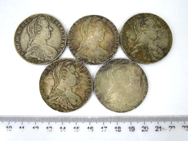 חמישה מטבעות כסף מריה טרזיה 1780 הקיסרות האוסטרית, מצב VG-VT