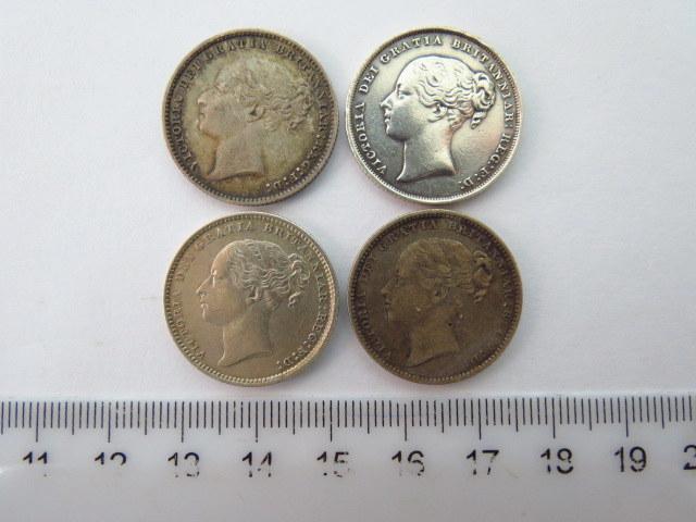 """ארבעה מטבעות כסף, אנגליה ע""""ס שילינג אחד המלכה ויקטוריה Victoria Dei Gratia Britanniari Reg F.D, שנים: 1856, 1879, 1884, 1885, מצב XF-AU ,"""