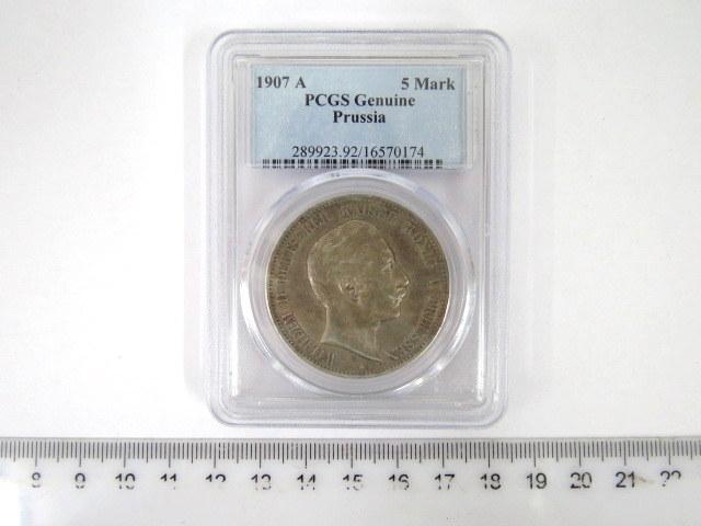 """מטבע כסף גרמני ע""""ס חמישה מארק, שלטון הקייזר וילהלם השני, מלך פרוסיה,  1907, אישור Genuine PCGS"""