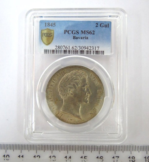 """מטבע כסף גרמני ע""""ס שני גולדן המלך לודויג הראשון, בווריה, 1845, דרוג PGC-MS62"""