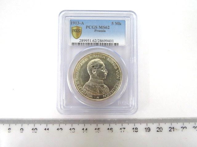 """מטבע כסף גרמני, ע""""ס חמישה מארק שלטון הקיסר וילהלם השני מלך פרוסיה, 1913, דרוג PCF-MS62"""