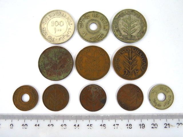 לוט של אחד עשר מטבעות מנדט: 1 מיל (3), 2 מיל (3), 5 מיל (2), 10 מיל (1940, 1942)