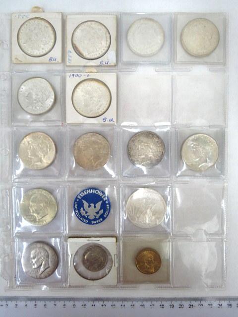 לוט שנים עשר מטבעות Silver Dollar ששה Morgan Dollar  שנים שונות, מצבים  XF-UNC, וארבעה Peace Dollar , מצבים XF-UNC, איזנהאואר (1), Liberty Walking (1), ובנוסף שלושה לא כסף