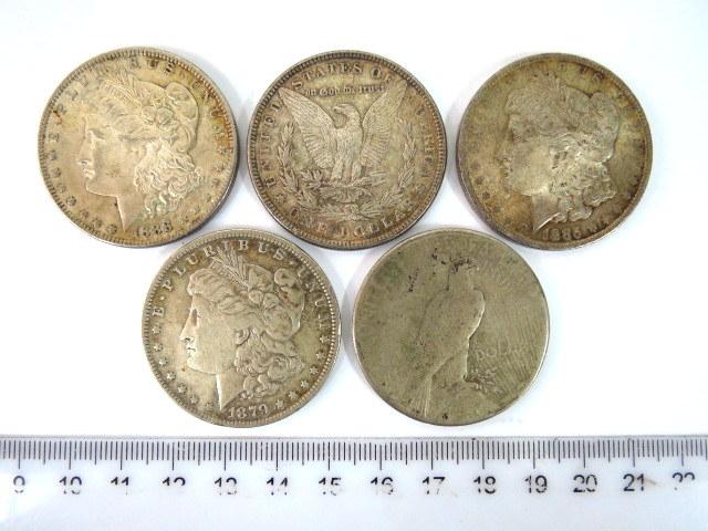"""חמישה מטבעות דולר ארה""""ב Morgan 1879,1885,1886,1888, Peace 1922"""