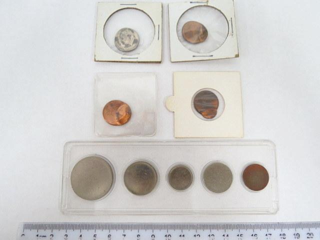 """סט אסימוני הטבעה (דיסקיות) , לא מוטבעים של כל מטבעות ארה""""ב (1 c עד חצי דולר) וכן 4 הטבעות טעות, cent  X 3, dime X 1"""