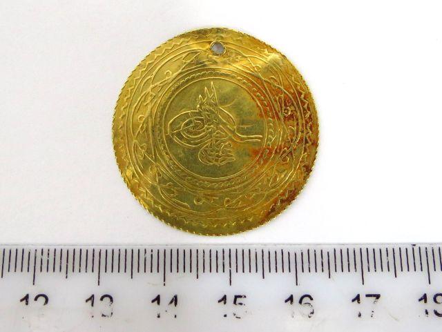 """מטבע זהב עותמאני ע""""ס 1 אלטין 1 Altin מנוקב, 1187 (1773)"""