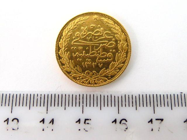 """מטבע זהב עותמאני ע""""ס לירה, מתוארך 1325"""