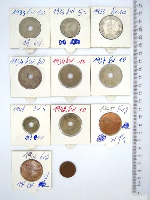 לוט מטבעות מנדט: 1 מיל, 2 מיל (2) 10 מיל (33,34,37,42), 5 מיל (41), 20 מיל (34), 50 מיל (33), 10 מיל (33)
