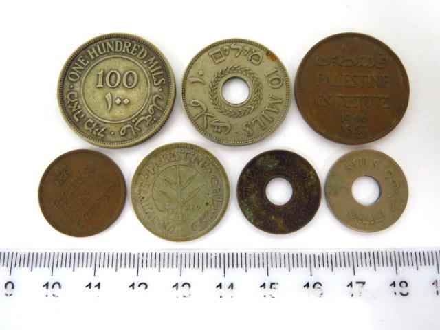 שבעה מטבעות מנדט: מיל, שני מיל, חמישה מיל (2), עשרה מיל (1940), 50 מיל  (1927), מאה מיל (1927), מצבים Fine-Good